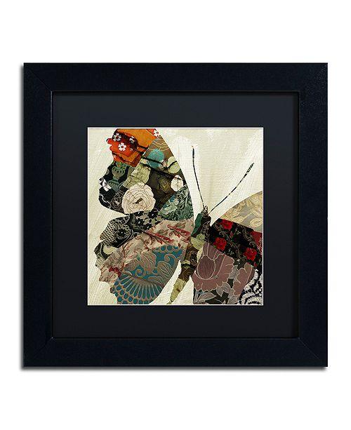 "Trademark Global Color Bakery 'Butterfly Brocade Iii' Matted Framed Art, 11"" x 11"""