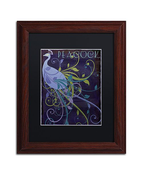 """Trademark Global Color Bakery 'Peacock Nouveau Ii' Matted Framed Art, 11"""" x 14"""""""