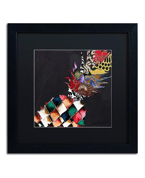 "Trademark Global Color Bakery 'Pineapple Brocade Ii' Matted Framed Art, 16"" x 16"""