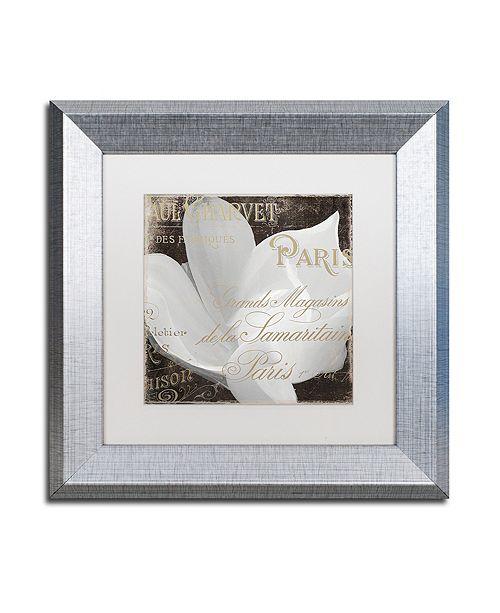 "Trademark Global Color Bakery 'Fleurs Blanc Ii' Matted Framed Art, 11"" x 11"""