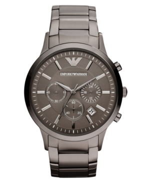 Emporio Armani Watch, Chronograph Gunmetal Tone Stainless Steel Bracelet 43mm AR2454