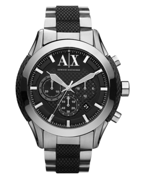 AX Armani Exchange Watch, Men's Chronograph Black Silicone Wrapped Stainless Steel Bracelet 47mm AX1214