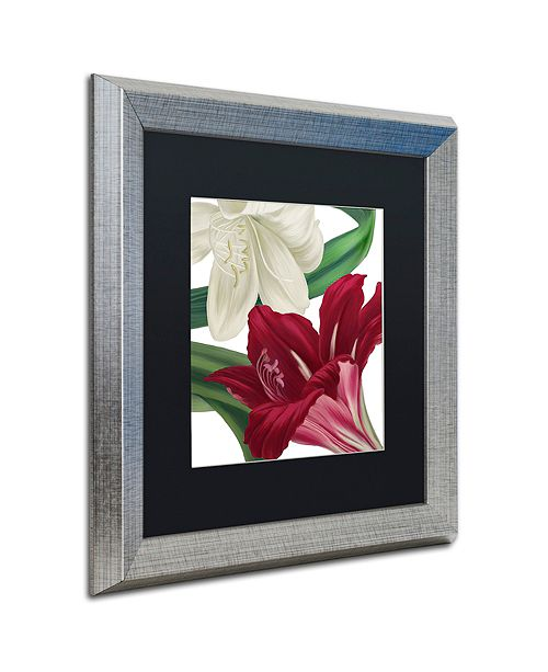"Trademark Global Color Bakery 'Christmas Amaryllis Ii' Matted Framed Art, 16"" x 16"""