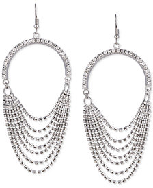 GUESS Silver-Tone Crystal Cascading Chain Drop Earrings