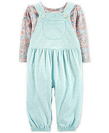 Carter's Baby Girls 2-Pc. Cotton Overalls & T-Shirt Set