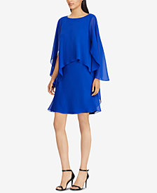 Lauren Ralph Lauren Petite Cape-Overlay Chiffon Dress