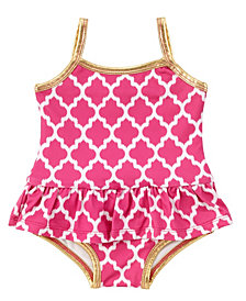 Masala Baby Baby Girl's Ruffled One Piece Jali Ikat