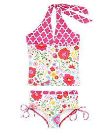 Masala Baby Girl's Halter Tankini Two Piece Set English Garden Multi