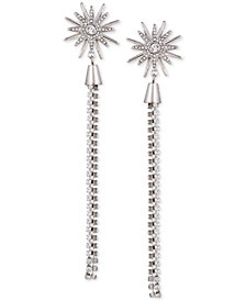 GUESS Silver-Tone Crystal Starburst Linear Drop Earrings