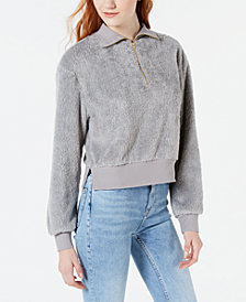 Material Girl Juniors' Plush Half-Zip Pullover, Created for Macy's