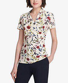 DKNY Floral-Print Faux-Wrap Top, Created for Macy's