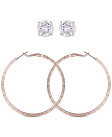Rose Gold-Tone 2-Pc. Set Crystal Stud & Hoop Earrings