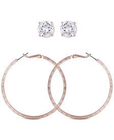 GUESS Rose Gold-Tone 2-Pc. Set Crystal Stud & Hoop Earrings