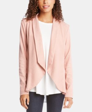 Open-Front Ruffled-Back Jacket in Petal Pink