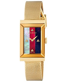 Gucci Women's Swiss G-Frame Gold-Tone PVD Stainless Steel Mesh Bracelet Watch 21x34mm