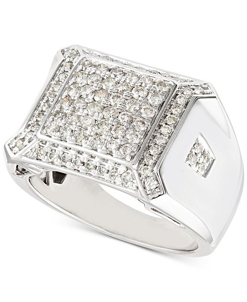 Macy's Men's Diamond Cluster Ring (1-1/4 ct. t.w.) in 10k White Gold