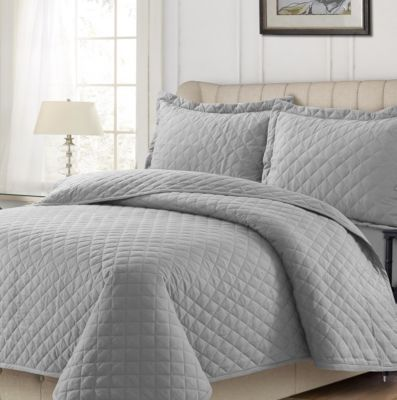 Cotton Flannel Solid Oversized Queen Quilt Set