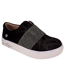 Black Crushed Velvet Stretch Sneaker