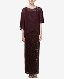 SL Fashions Sequin Gown & Cape