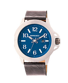 Breed Quartz Bryant Silver And Blue Genuine Leather Watches 44mm