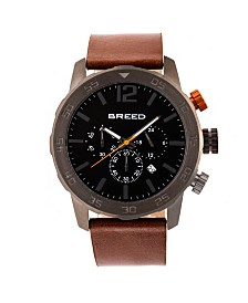 Breed Quartz Manuel Chronograph Gunmetal And Brown Genuine Leather Watches 46mm