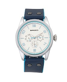 Breed Quartz Rio Silver And Blue Genuine Leather Watches 43mm