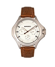 Quartz Tempe Light Brown And Silver Genuine Leather Watches 43mm