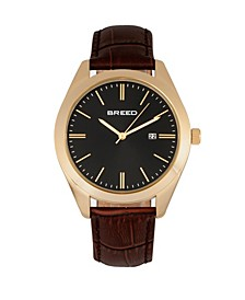 Quartz Louis Gold And Brown And Black Genuine Leather Watches 42mm