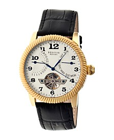 Heritor Automatic Piccard Gold & Silver Leather Watches 44mm