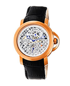 Heritor Automatic Mckinley Rose Gold & Silver Leather Watches 44mm