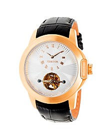 Heritor Automatic Windsor Rose Gold & Silver Leather Watches 46mm
