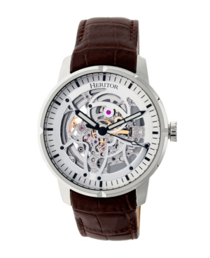 Automatic Ryder Brown & Silver & Silver Leather Watches 44mm