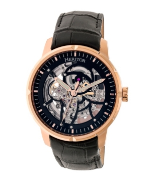 Automatic Ryder Black & Rose Gold & Black Leather Watches 44mm