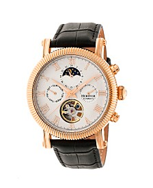 Heritor Automatic Winston Rose Gold & White Leather Watches 45mm