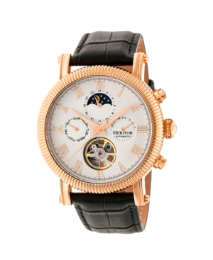 Automatic Winston Rose Gold & White Leather Watches 45mm