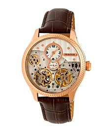 Heritor Automatic Winthrop Rose Gold & Silver Leather Watches 41mm