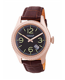 Heritor Automatic Barnes Rose Gold & Brown Leather Watches 44mm