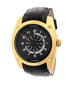 Automatic Daniels Gold & Black Leather Watches 43mm