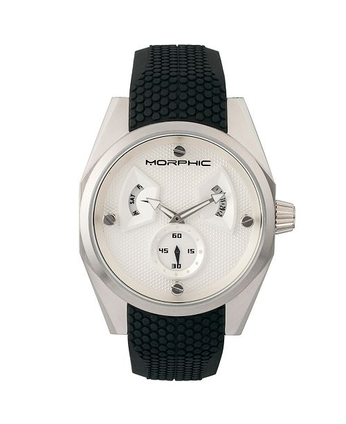 Morphic M34 Series, Silver Silicone Watch, 44mm