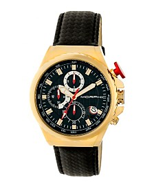 Morphic M39 Series, Gold Case, Black Leather Band Chronograph Watch, 43mm