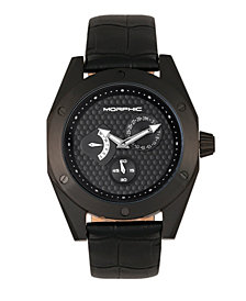 Morphic M46 Series, Black Case, Black Leather Band Men's Watch w/Date, 44mm