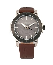 Morphic M54 Series, Silver Case, Brown Leather Band Chronograph Watch, 46mm