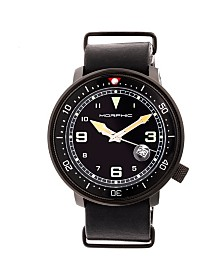 Morphic M58 Series, Black Case, Black Nato Leather Band Watch w/ Date, 42mm