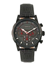 Morphic M60 Series, Black Case, Charcoal Leather Chronograph Band Watch w/Date, 45mm