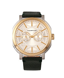 Morphic M62 Series Leather-Band Watch w/Day/Date - Gold/Green