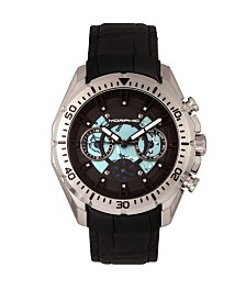 Morphic M66 Series, Skeleton Dial, Silver Case, Black Leather Band Watch w/Day/Date, 45mm