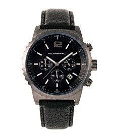 M67 Series, Gunmetal Case, Chronograph Black Leather Band Watch w/Date, 44mm