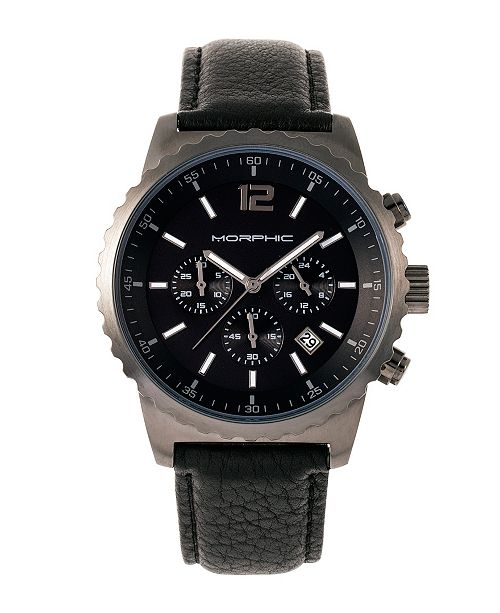 Morphic M67 Series, Gunmetal Case, Chronograph Black Leather Band Watch w/Date, 44mm