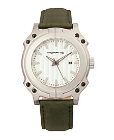 M68 Series, Silver Case, Olive Leather Band Watch w/Date, 44mm