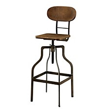 Industrial Style Wooden Swivel Bar Stool With Black Metal Base, Dark Brown